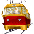 Tram driver trip character cartoon style vector illustration — Stock Photo