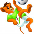 Lion ball footbal clipart cartoon style vector illustration - Stock Photo