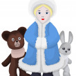 Snow-maiden bear bunny character cartoon style vector illustrati — Stock Photo