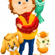Boy dog cat parrot character cartoon style vector illustration — Stock Photo #23867619