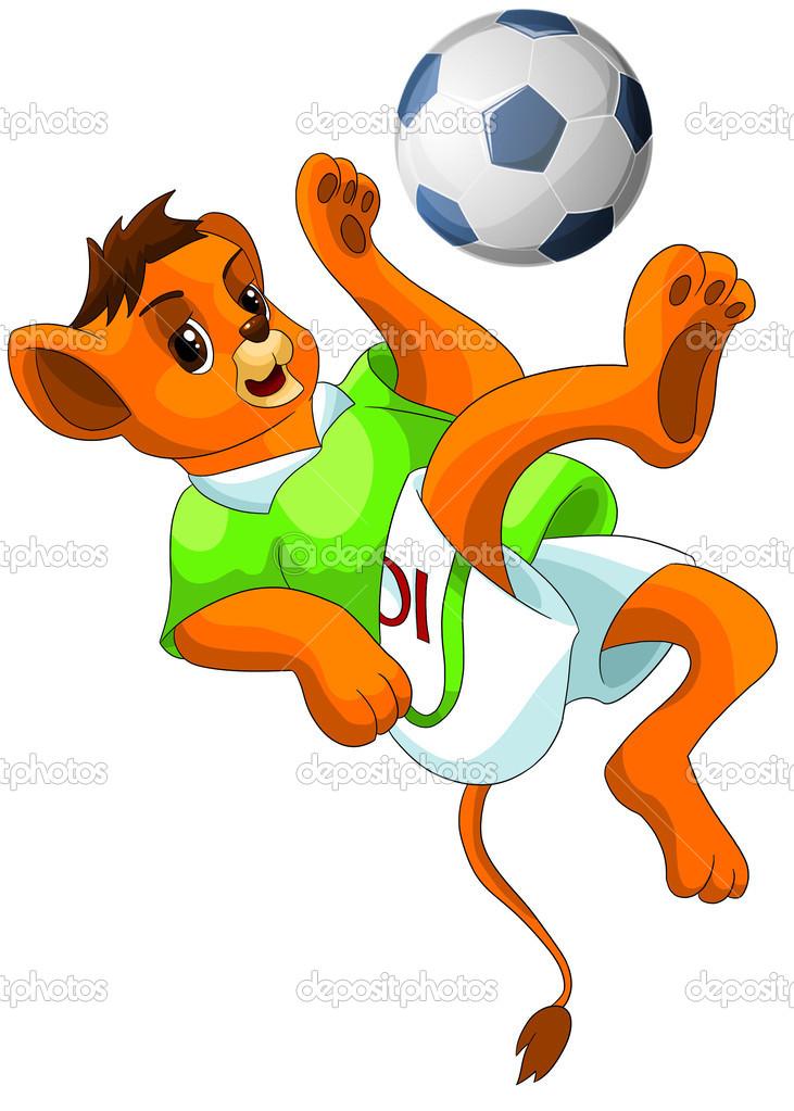 Leone palla illustrazione vettoriale di footbal clipart