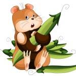 Hamster peas character cartoon illustration white background — Stock Photo