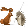 Rabbit hare hedgehog clipart cartoon illustration w — Stock Photo #24002351