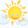 Sun clouds clipart cartoon illustration white backg - Stock Photo