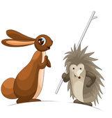 Rabbit hare hedgehog clipart cartoon illustration w — Stock Photo