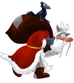 Santa Claus wolf crow character cartoon illustration — Stock Photo