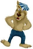 Wolf broek dansen karakter cartoon stijl vectorillustratie — Stockfoto