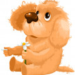 Dog puppy camomile divination character cartoon style vector — Stock Photo