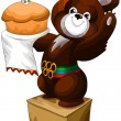 Stock Photo: Olympic bear pedestal character cartoon vector illustration