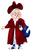 Grandmother crone character cartoon style vector illustration — Stock Photo