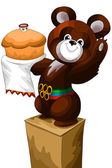 Olympic bear pedestal character cartoon vector illustration — Stock Photo