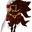 Royalty-Free Stock Photo: Knight horse character cartoon style vector illustration white background isolated cut