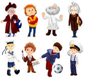 Grandmother boy doctor scientist sailor artist footballer clipart style vector illustration white background isolated cut — Stock Photo