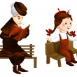 Stock Photo: Crone girl bench clipart cartoon style vector illustration white background isolated cut