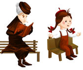 Crone girl bench clipart cartoon style vector illustration white background isolated cut — Stock Photo
