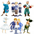 Stock Photo: Actor sailors boyar lady kids dog musketeer clipart cartoon style vector illustration white background isolated cut