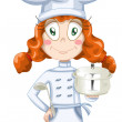 Girl cook character cartoon style vector illustration white backround isolated cut — Stock Photo #24397493