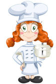 Girl cook character cartoon style vector illustration white backround isolated cut — Stock Photo