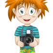 Man photographer tourist character cartoon style vector illustration white background isolated cut — Stock Photo