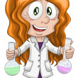 Stock Photo: Girl scientist chemist character cartoon style vector white background isolated cut