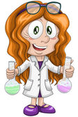 Girl scientist chemist character cartoon style vector white background isolated cut — Stock Photo