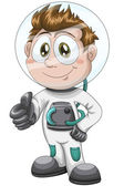 Boy astronaut character cartoon style vector illustration white background isolated cut — Stock Photo