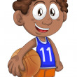 Boy basketball player character cartoon style vector illustration white background isolated cut — Stock Photo