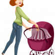 Woman mother stroller character cartoon style vector illustration white background isolated cut — Stock Photo