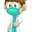 Stock Photo: Girl doctor medic character cartoon style vector illustration white background isolated cut