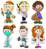 Kids profession clipart cartoon style vector illustration white background isolated cut — Stock Photo