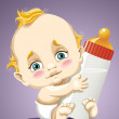 Baby child bottle milk character cartoon style vector illustration purple background isolated cut — Stock Photo