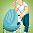 Man dad stroller character cartoon style vector illustration green background isolated cut — Lizenzfreies Foto