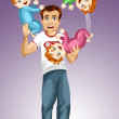 Man dad baby triplets juggles character cartoon style vector illustration purple background isolated cut - Stock Photo