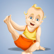 Baby child gymnastics character cartoon style vector illustration blue background isolated cut — 图库照片 #24665827