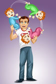 Man dad baby triplets juggles character cartoon style vector illustration purple background isolated cut — Stock Photo