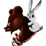 Bear rabbit sled character cartoon style vector illustration white background isolated cut — Stock Photo #24727765