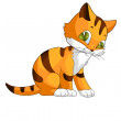 Cat kitten red pet character cartoon style vector illustration white background isolated cut — Stock Photo