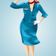Woman stewardess flight attendant character cartoon style vector illustration white background isolated cut — Stock Photo