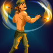 Man fire show character cartoon style vector illustration blue background - Stock Photo