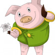Royalty-Free Stock Photo: Pig coat flower character cartoon style vector illustration white background isolated cut
