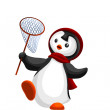Penguin little catch character cartoon style vector illustration white background isolated cut — Stock Photo