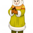 Stock Photo: Girl Eskimo character cartoon style vector illustration white background isolated cut