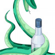 Royalty-Free Stock Photo: Snake wink bottle character cartoon style vector illustration white background isolated cut