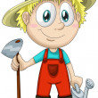 Boy gardener character cartoon style vector illustration white background isolated cut — Stock Photo