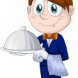 Boy waiter character cartoon style vector illustration white background isolated cut - Stock Photo