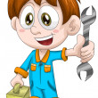 Boy mechanic character cartoon style vector illustration white background isolated cut — Stock Photo