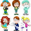 Boy girl child profession clipart cartoon style vector illustration white background isolated cut — Stock Photo