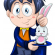 Stock Photo: Boy magicifocus rabbit character cartoon style vector illustration white background isolated cut