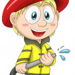 Stock Photo: Boy firefighter firemcharacter cartoon style vector illustratration white background isolated cut