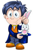 Boy magician focus rabbit character cartoon style vector illustration white background isolated cut — Stock Photo